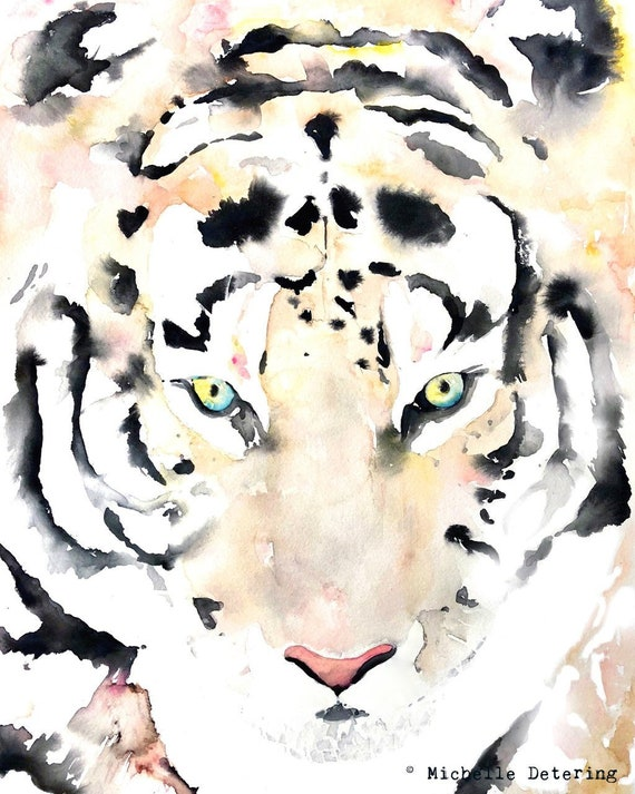 Tiger Watercolor Tiger Art Tiger Painting Tiger Decor Cat | Etsy