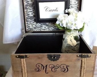 Vintage Wedding Card Box, Rustic Wedding Card Box, Vintage Trunk Wedding Card Box with Personalization, Western or Barn Weddings