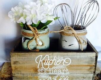 rustic mason jar kitchen decor - mason jar centerpiece - rustic kitchen decor - Neutral Rustic Mason Jar kitchen decor - Hostess Gift