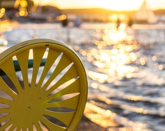 Memorial Union Terrace Chair Sunset - University of Wisconsin Lakefront in Madison - Madison Wisconsin - Wall Art
