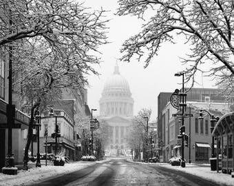 Madison Wisconsin State Street - Capital Building - Black and White Photography - Wall Art