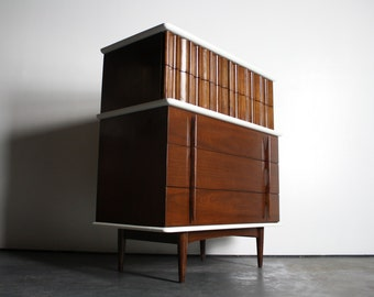 Stunning Reworked 2 Toned Mid Century Modern Tall Boy Dresser by the United Furniture Corp.