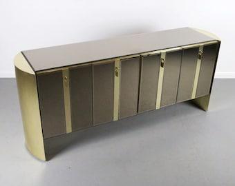RARE Ello Mirrored Cabinet Credenza W/ Brass Accents