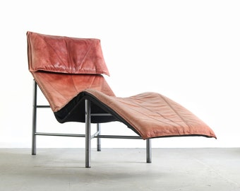 Mid Century Danish Modern Brown Leather Chaise Lounge Chair By Tord  Björklund