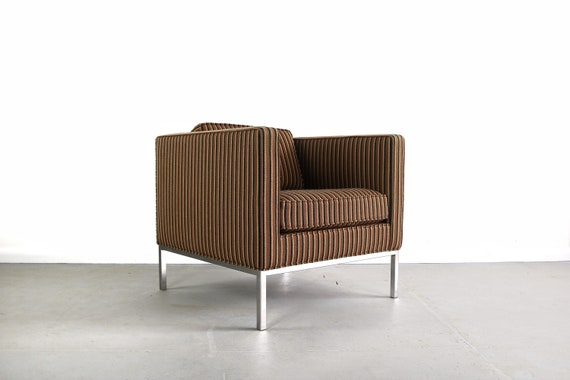 Edward Axel Roffman Chair In Original Striped Upholstery On A Etsy