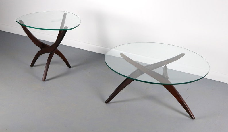 Awesome A Set Of 2 Forest Wilson Rosewood Glass Architectural Coffee Table And End Table Machost Co Dining Chair Design Ideas Machostcouk