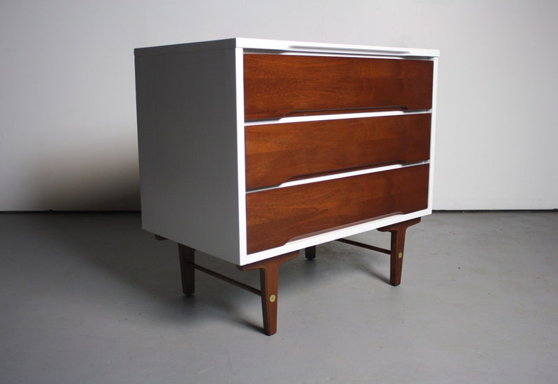 Gorgeous and Versatile Two Tone Mid Century Small Dresser By Stanley