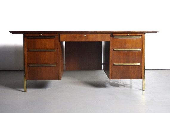 Mid Century Modern Executive Desk In Walnut W Brass Detailing Etsy