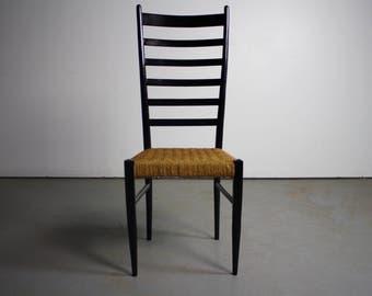 Gio Ponti Italian Modern Chair w/ Woven Rope Seats & Ladderbacks