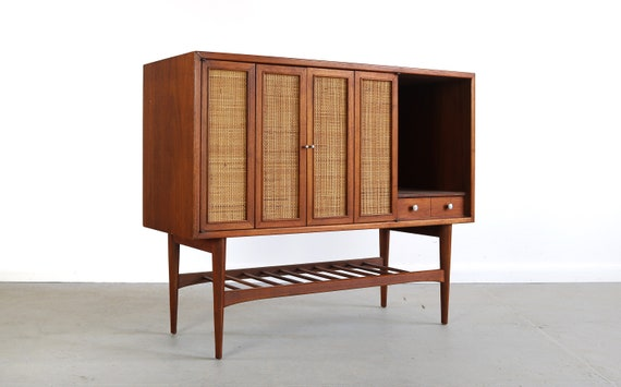 Danish Buffet Credenza : Rare tall danish buffet credenza with cane doors etsy