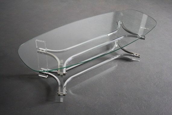 Charles Hollis Jones Lucite Chrome Glass Coffee Table Etsy