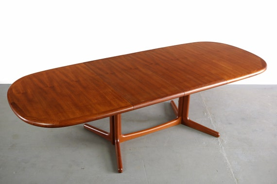 9 Feet Danish Modern Dyrlund Teak Extension Dining Table Etsy