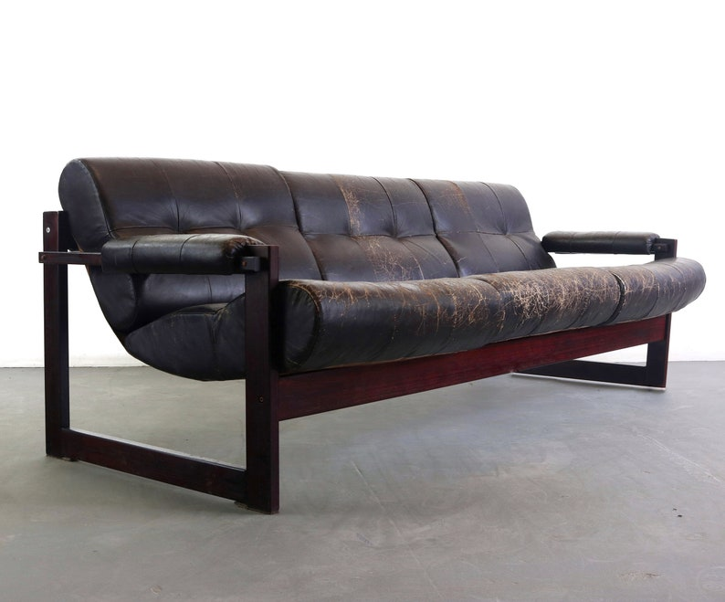 Percival Lafer Rosewood Framed Sofa In Patinau0027d Chocolate Colored Leather