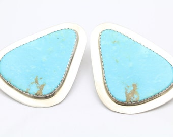 CaWin Calabaza Handcrafted Clip-On Earrings in Turquoise and Sterling Silver. [10393]