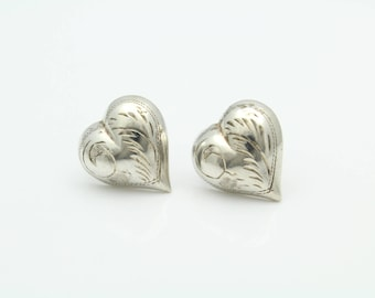 Puffy Heart Engraved Antique-Style Stud Earrings in Sterling Silver. [11613]
