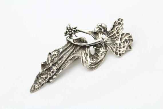 Artisan Faerie Brooch Pendant in Sterling Silver.