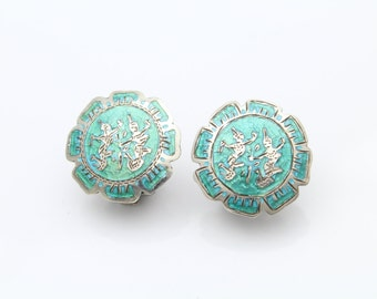 VTG Siam Green Enamel Dancing Ladies Clip Back Earrings. [8036]