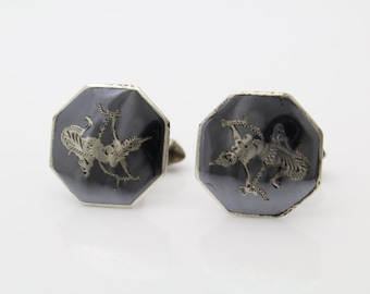 Vintage Siam Sterling Silver Niello Dancing Ladies Octagon Cufflinks. [898]