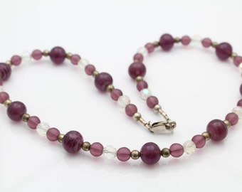 Sterling Silver Crystal AB and Amethyst Crystal Bead Necklace Purple. [6721]