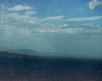 Sea of the Strait, with the sky of clouds. Sea photography. Photographic print. Photo. print.