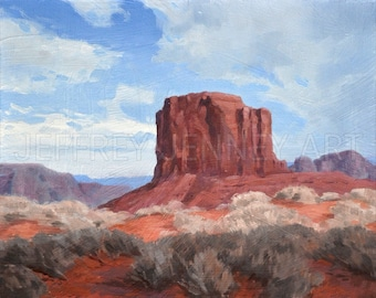Monument Valley Print - Fine Art Print From An Original Painting - 8x10 - By Jeffrey Jenney - Landscape Art - Monument Valley Painting