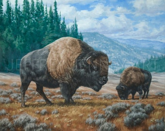Bison Painting - Fine Art Print From An Original Painting - 8x10 - By Jeffrey Jenney - Bison Print - Buffalo Print
