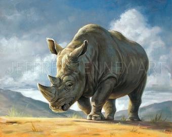 Rhino Print - Fine Art Print From An Original Painting - 8x10 - By Jeffrey Jenney - Animal Art - Rhino Painting - Rhino Art