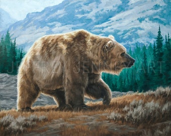 Grizzly Bear Painting - Fine Art Print From An Original Painting - 8x10 - By Jeffrey Jenney - Grizzly Bear Print