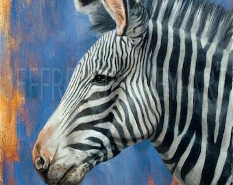 Zebra Print - Fine Art Print From An Original Painting - 8x10 - By Jeffrey Jenney - Wildlife Art - Zebra Painting - Zebra Art