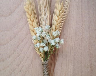 Wheat and dried babies breath boutonierre