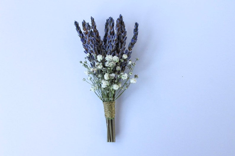 Dried Lavender and Baby/'s Breath Boutonniere
