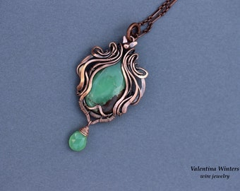 Copper jewelry, wire wrapped, chrysoprase stone, chrysoprase gemstone, wire jewelry, handmade
