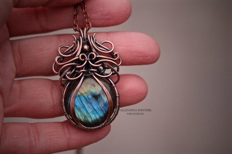 labradorite pendant labradorite jewelry,copper necklace women jewelry Copper wire jewelry pendant wire wrapped jewelry women jewelry