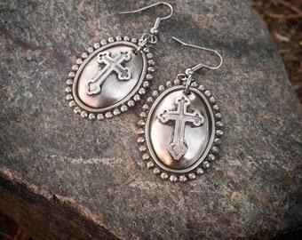 Concho Cross Earrings