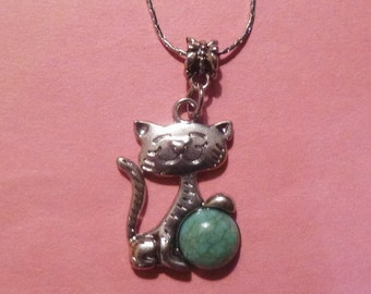 Silver Cat Necklace  Holding an Turquoise Ball