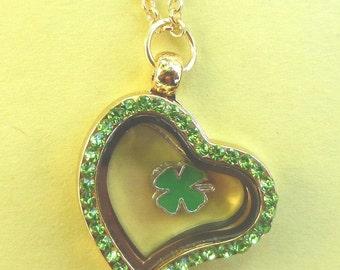 Gold Heart Memory Locket Green Rhinestone w/Charm ~ Matching Link Chain Included  FL20