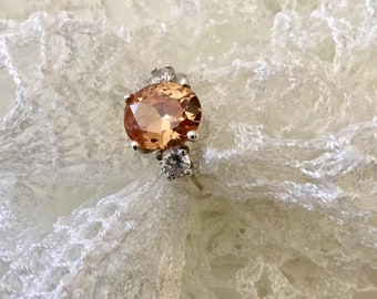 Sterling silver Peach Orange ZC, very original CZ color, orange ZC, engagement ring