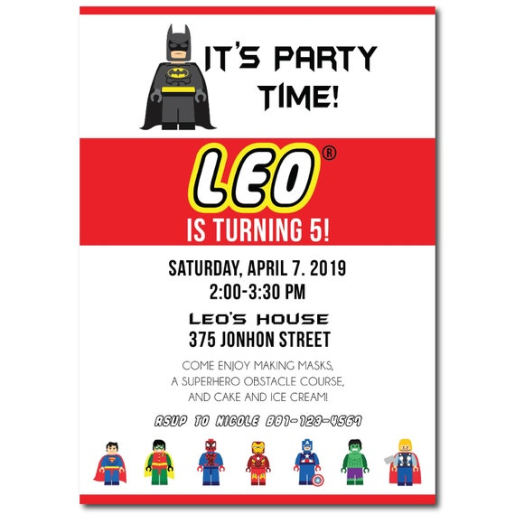 Lego Batman Birthday Invitation Printable