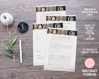 Photography Wedding Contract Forms - IF119 - INSTANT DOWNLOAD. You'll receive 4 psd files