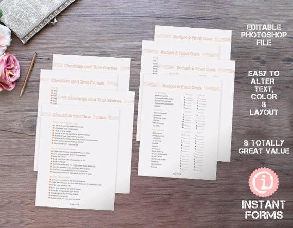 Hochzeit Planen Checkliste Kalender Und Budgetplaner If058 Etsy