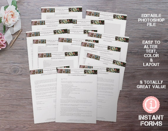 wedding planner form with contract timeline and much more etsy