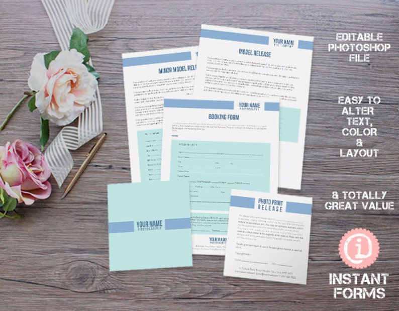 Photography Wedding Business Forms and Contracts - IF007 - INSTANT  DOWNLOAD  You'll receive 15 psd files