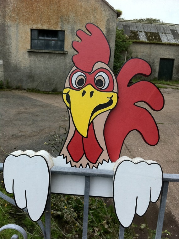 Chickens Rooster Fence Sitter Garden Ornaments Decorations