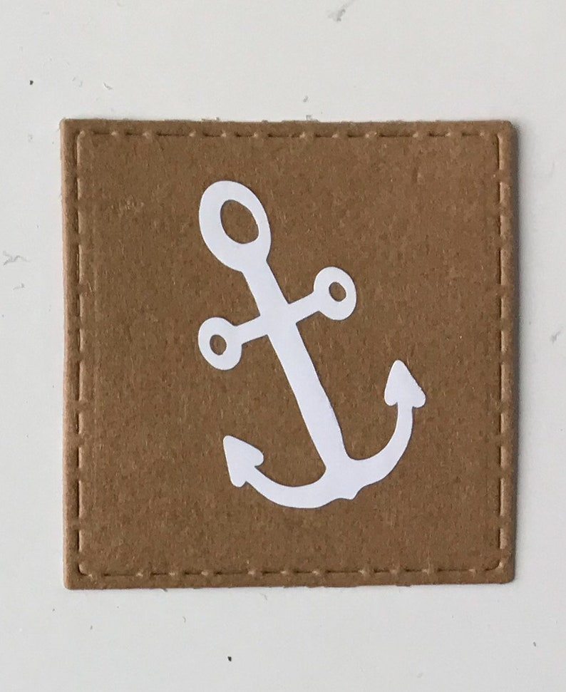 5 x Label Anchor Label for sewing from leather imitat Snappap washable 40 x 40 mm