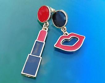 Lip Lipstick Earrings, Black Red Make up Earrings, Enamel Lip and Lipstick Post Earrings, Red Black Enamel Lips and Lipstick