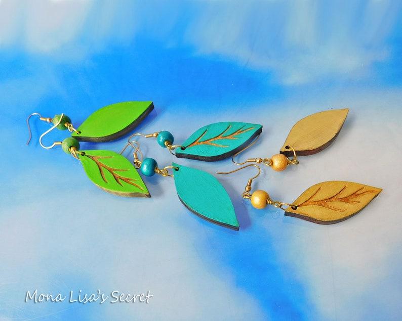 Green Lightweight Earrings Long Wood Earrings in Gold Laser Cut Wood Leaf Earrings Blue Wood Leaf Earrings