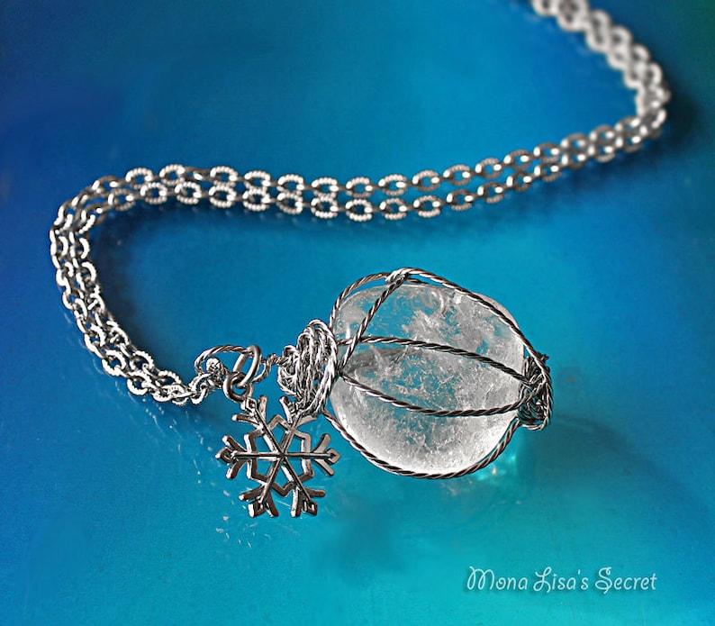 Crystal Quartz Snowflake Necklace Christmas Gift Long Wire Wrapped Crystal Necklace Crystal Quartz Jewelry Wire Wrapped Stone