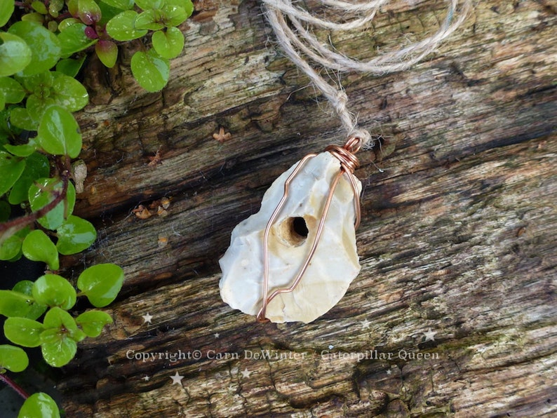 Hag Stone Protection Talisman - Hanging Goddess Amulet - lucky witch, make  a wish stone  Odin, holey stone, copper wire, lucky charm man men