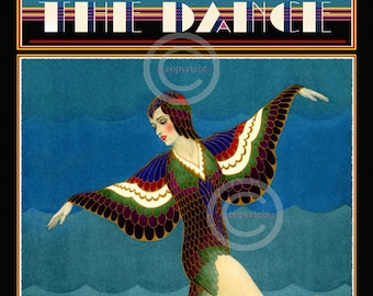 Whimsical Art Deco Dance Print The Dance Magazine  Ballerina by Carl Link  Bird Costume wings Ziegfeld Follies Girl 1929 Giclee Art 12x18