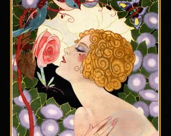 Art Deco Flapper Print, Jazz Age Flapper, Girl Smelling a Rose,  Morning Glories, Birds,  Dragonfly, Garden, Giclee Art Print, 11x14, 1925